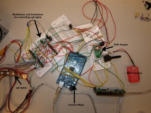 Circuit of Spare Time Manager, just before we built it under the table.