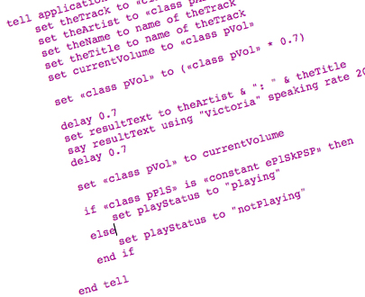 AppleScript which parses and speaks the current song.