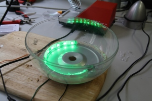 Lights in a fishbowl, soon also equipped with a vapor generator.